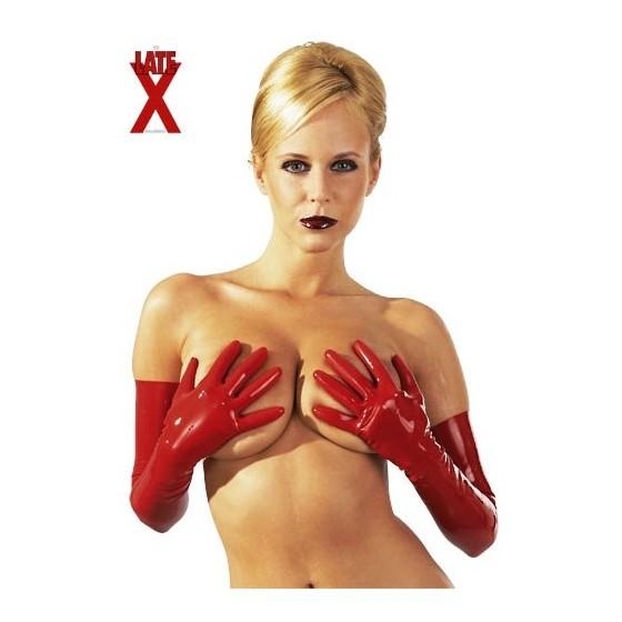 Manusi latex lungi rosii