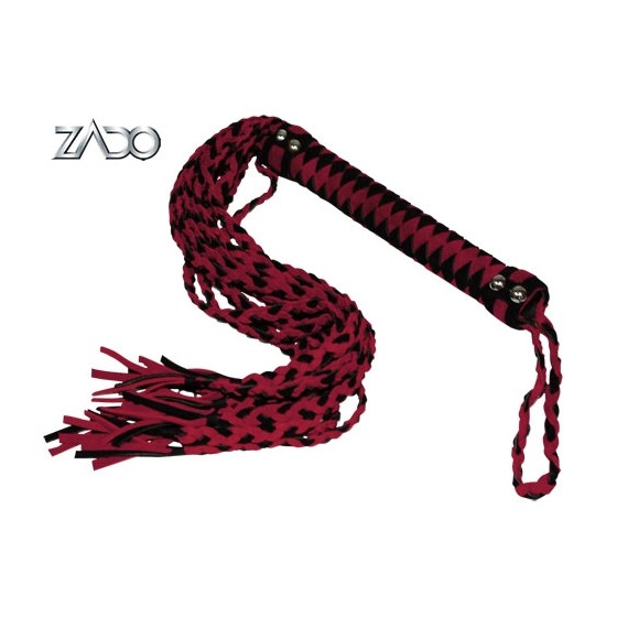 Leather whip red/black