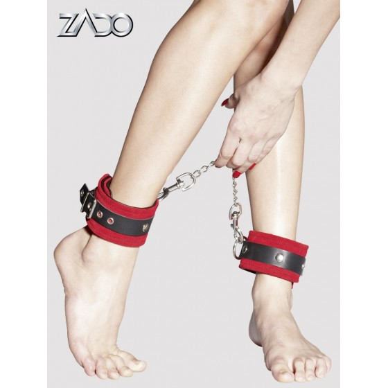Leather Ankle Cuffs red