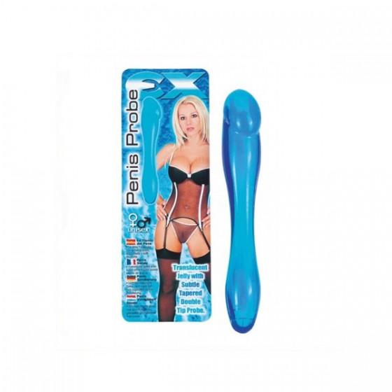 Dildo Dublu Penis Bleu 18cm